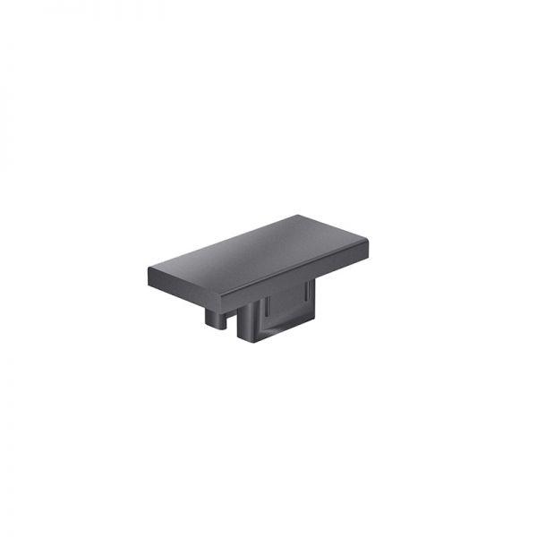 Endkappe 50x25 aus schwarzem Kunststoff für mk Profil 2001