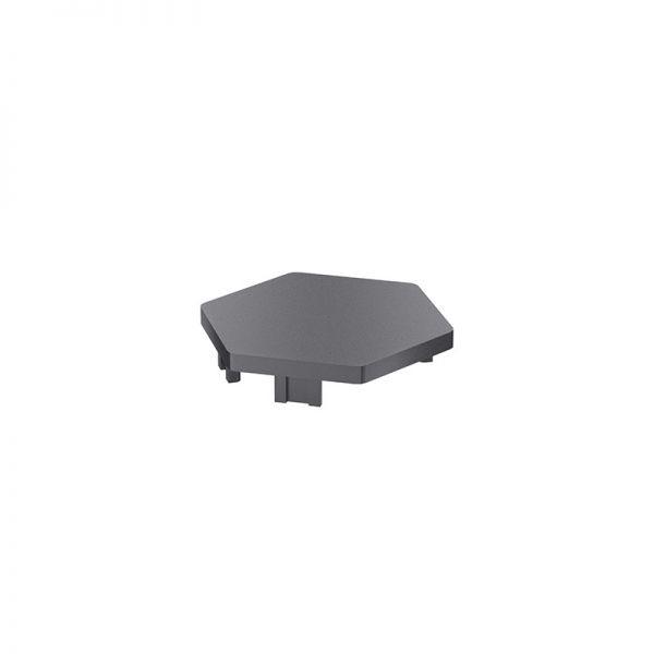 Endkappe 57x50 aus schwarzem Kunststoff für Profil mk 2025.20