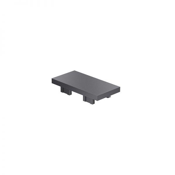 Endkappe 50x25 aus schwarzem Kunststoff für Profil mk 2025.02